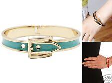 Urban Trend Mint Green Enamel Fancy Belt Buckle Hinged Bangle gold cuff Bracelet