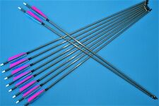 """Ten carbon arrows- spine 350  - recurve and compound bow-32"""" Turkey feather"""