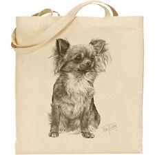 Long Hair Chihuahua Reusable Cotton Shopping Tote bag.  Mike Sibley Print