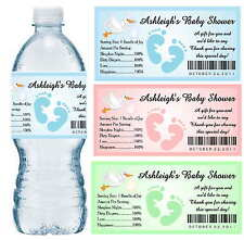 30 BABY SHOWER WATER BOTTLE LABELS ~ Glossy ~ Waterproof Ink ~ Personalized