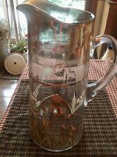 Victorian Hand Painted Glass Lemonade Pitcher Lilies Of The Valley