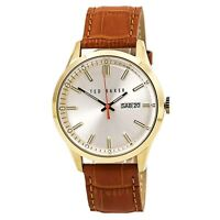 Ted Baker Men's Watch Dress Sport Silver Tone Dial Brown Leather Strap 10023464