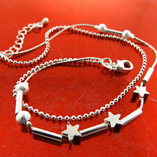 ANKLET REAL 925 STERLING SILVER S/F LADIES STAR BEAD LINK CHARM DESIGN FS3A773
