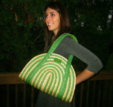 Kate Spade Lawn Party Medium green cruise Tote Bag Wicker Kelly & Natural Straw