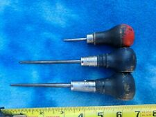 Lot of 3ea. Scratch Awls: (1) Stanley #7, (2) Stanley H1202, (3) Unbranded