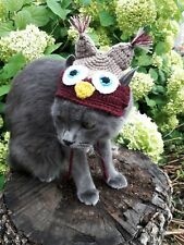 Halloween Pet Clothes Outfit Crochet Owl hat for cat or Small Dogs Handmade