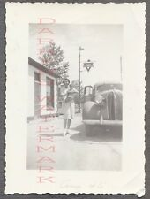 Vintage Car Photo Pretty Girl & Baby w/ 1937 Plymouth Automobile Conoco  701231