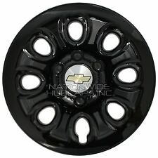 "Set of 4 CHEVY 6 Lug 17"" Black Wheel Skins Full Rim Covers Center Hub Caps NEW"