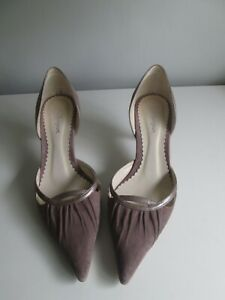 WOMENS MONSOON DUSKY PINK TAUPE MID  HEEL POINTED  TOE SHOES SIZE 5