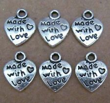 PJ001 20pc Tibetan Silver Charms 2-sided Love Heart Accessories Jewelry Making