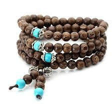 Wood Tibetan Buddhist Buddha Meditation Prayer Bead Mala Bracelet / Necklace