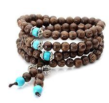 Wood Tibetan Buddhist Buddha Meditation Prayer Bead Mala Bracelet / Necklace