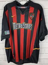 Vintage Nike NY/NJ Metrostars Jersey Size Large L Red Black Excellent