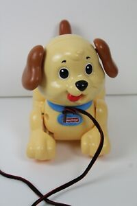 Fisher Price Pull A Long Puppy Toy Walking Dog Tan and Brown