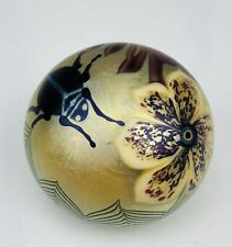 Orient & Flume 1976 Studio Art Glass Beetle Bug Scarab & Flower Paperweight Qen