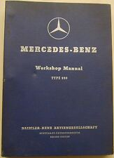 MERCEDES Benz 220 & 220a MANUALE OFFICINA ORIGINALE 1951-56 (170 & Ponton Forma)