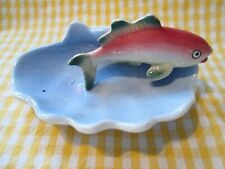 Vintage Fish in a Shell Water Figurine Trinket Dish Candy