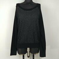 Banana Republic Black Long Sleeve Scoop Neck Sparkle Knit Sweater Womens Size L