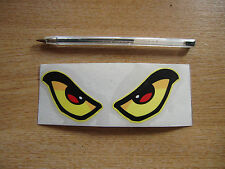 Evil Eyes sticker/decal - YELLOW 125mm x 50mm - car / van / motorcycle / helmet