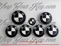Blanc & Noir Vernis Badge Emblème Superposé pour BMW Coupe Coffre Jantes @ Tous