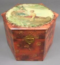 Antique Victorian Celluloid Dresser Box Hexagon w 4 Collars Studs Cluett Peabody