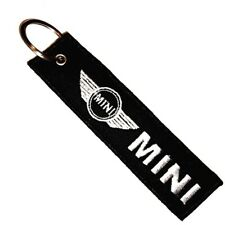 MINI COOPER CAR GREY LOGO Embroidered Stitched Metal Keyring Keychain Automobile