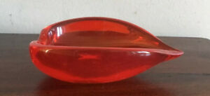 Fantastic Vintage Red Murano Glass Teardrop Shaped Bowl