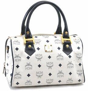 Authentic MCM Leather Vintage Boston Hand Bag White Navy D4433