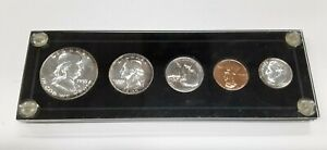 1955 United States Mint 5 Coin Proof Set in Black Acrylic Holder 90% Silver (S)