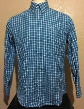 Southern Tide Men's Size Medium Cotton Teal White Check Long Sleeve Shirt M