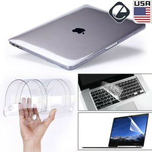 """Glossy Clear Hard Shell Case+Keyboard Cover For 2020 MacBook Air Pro 13"""" M1 15"""""""