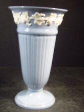 "Wedgwood Queensware 9"" Trumpet Vase Blue With White Grape Trim"