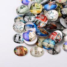 LOT de 10 CABOCHONS en VERRE thème URBAIN URBAN VILLE ronds 10mm perles bijoux