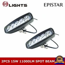 2X 15W LED WORK LIGHT BAR SPOT OFF ROAD 4WD SUV BOAT JEEP UTE TRUCK DRIVING LAMP