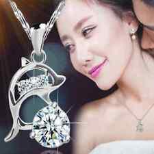 Silver Crystal Rhinestone Creative Souvenir Jumping Dolphin Pendant Necklace