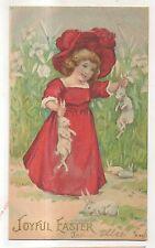 Joyful Easter, Cute Girl with Bunny Rabbits Vintage 1907 UDB Easter Postcard
