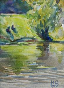 """Kliefert-Gießen, Mathilde (1887 Pries/Kiel–1978 Stralsund) """"Uferlandschaft"""" 1919"""