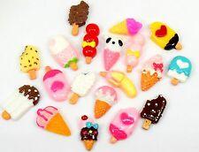 15 Mixed Ice Cream Food Flatbacks, Cabachons Embellishments Crafts BU1188