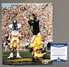 d6de3ea19c8 JIM HARBAUGH SIGNED MICHIGAN WOLVERINES TOUCHDOWN 8x10 PHOTO BECKETT  WITNESS COA