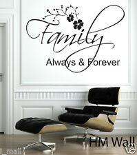 """FAMILY ALWAYS & FOREVER"" inspirational quote wall art decal, great gift idea"