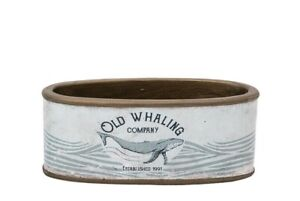 Small Ceramic Oval Plant & Flower Pot 'Old Whaling Co.' Maritime Design