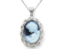 Blue Agate A Mothers Love Cameo in 14K Gold