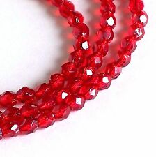 4mm Ruby Silver Lined FP Czech Glass Beads, Beveled Faceted, Preciosa Ruby Red