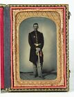 1860s CIVIL WAR AMBROTYPE PHOTO OF ARMED UNION ARMY OFFICER CASED PHOTOGRAPH