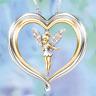 Fashion Two Tone Gold Plated Angel Pendant Choker Women Men Necklace Chain