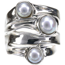 Hagit Gorali White Culture Fresh Water Pearl Sterling Silver Ring Size 7