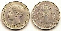 Spain-Alfonso XIII. 1 Peseta. 1899*18-99. Madrid. MBC+/VF+ Plata 5 g.