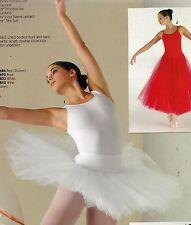 "NWT GRADUATED White short 6tier Panty TUTU Ballet top skirt 15"" adlt  #74906"