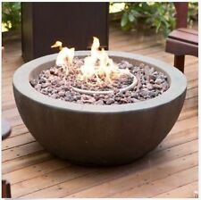"""Outdoor Fire Pit Propane Backyard Patio Cover Stone Bowl Round Camping 28"""" NEW"""