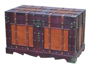 Vintiquewise Antique Style Steamer Trunk, QI003042L